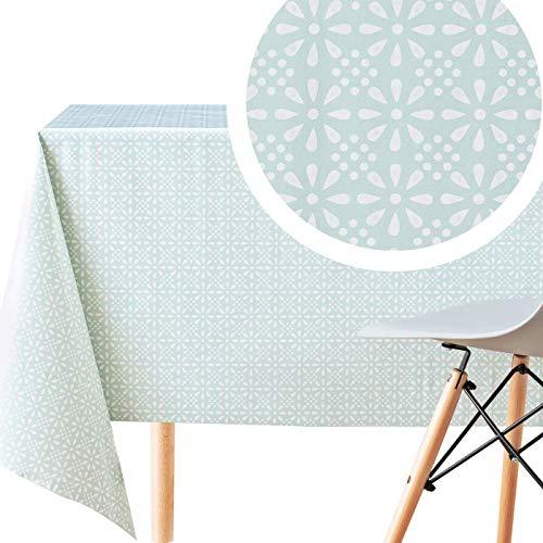 KP HOME Wachstuchtischdecke Türkis PVC Wachstuch Tischdecke - Rechteck 200 x 140 cm - Wiederver-wendbare Vinyl Wachstischdecke mit Retro Blumendruck Druckdesign