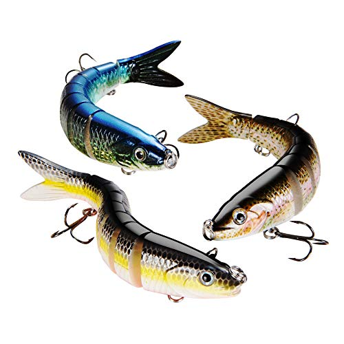 EDEUOEY Topwater Bass Fishing Lures: Mini Barbless Jointed Hard Segmented Lifelike Minnow Bait Set 3 Pack Large Bionic Largemouth Freshwater Saltwater Lipless Viber Waver Swimbait Kit
