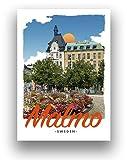 Malmo Sweden Art Deco Retro Style Reise-Poster