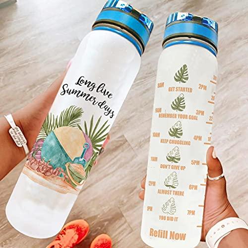 O3XEQ-8 Botella de agua deportiva motivadora para días de verano en vivo, con correa de transporte, reutilizable, para fitness, gimnasio, camping, deportes al aire libre, color blanco, 1000 ml