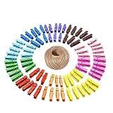 G2PLUS 100 Madera Pinzas, Colore Pinzas para la Ropa, con 30 m de Cuerda de Yute, para Fotos Manualidades Decoración Bricolaje