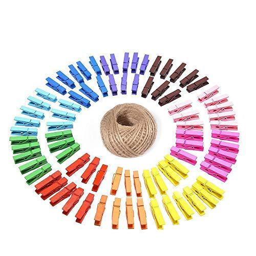 G2PLUS 100 Pinces à Linge colorées en Bois, Clips Photo en Bois,avec Bobine de Ficelle de Jute de 30 m - pour vêtements, Photos, Loisirs créatifs