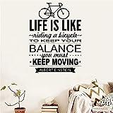 Wandtattoo / Wandaufkleber, Motiv 'Life is Like Riding a Bicycle to Keep You Balance...