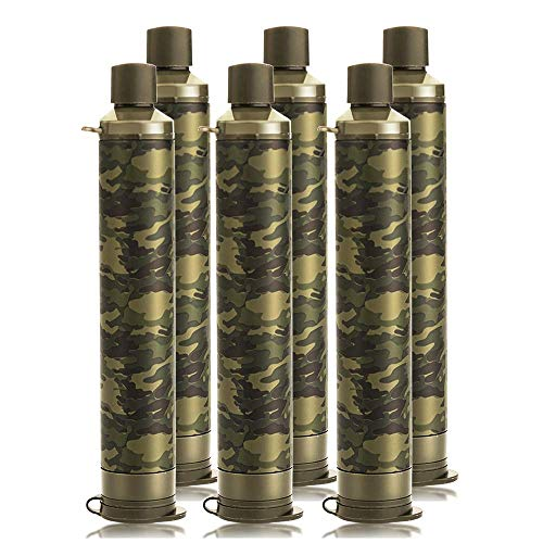 Membrane Solutions Portable Water Filter Straw Filtration Straw Purifier Survival Gear for Hiking Camping Travel and Emergency Preparedness Camouflage Pack of 6