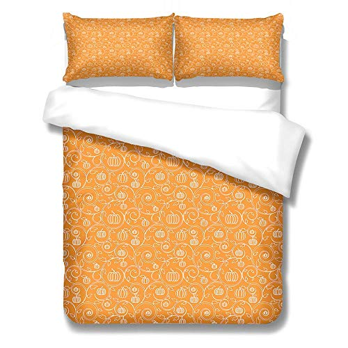 Double Duvet Covers Set 3Pcs Soft Comfortable Lightweight Bedding Set Simple Pumpkin Pattern for Kids Boys Girl Microfibre Three Piece 2 Pillowcases with Zipper Closure(200X200cm)