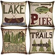 7COLORROOM Set of 4 Vintage Sea Pillow Covers Ocean Style Lake/Forest/Fish Cushion Cover Nautical Beach House Decorative Square Cotton Linen Pillowcases 18 x 18 Inches for Sofa Couch (Forest Sea)