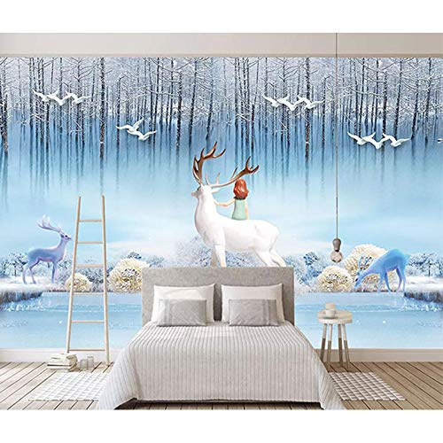 TV achtergrond wall_2019 nieuwe Scandinavische moderne tv-achtergrondbekleding woonkamer slaapkamer vlies naadloze wandafbeelding fotobehang 3d effect behang behang bos vintage 200 x 140 cm.