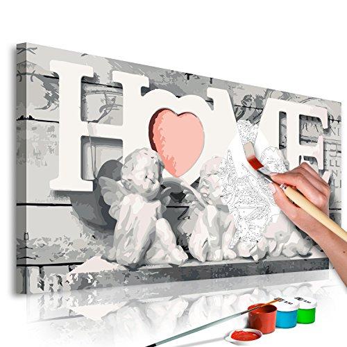 murando - Malen nach Zahlen Home & Engel 80x40 cm Malset mit Holzrahmen auf Leinwand für Erwachsene Kinder Gemälde Handgemalt Kit DIY Geschenk Dekoration n-A-0316-d-a