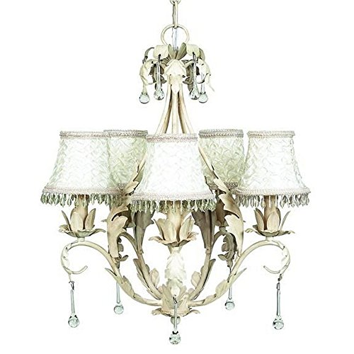 Jubilee Collection 7703-2317 5 Arm Caesar Chandelier Shade with Smock and Dangle, Antique Ivory