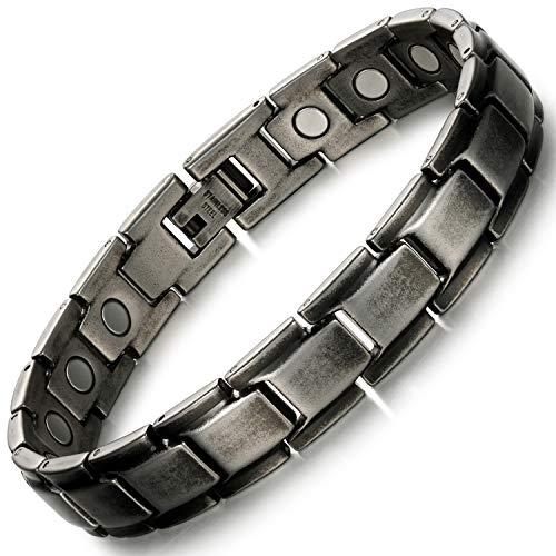Rainso Pulsera para hombre, pulsera magnética de acero de titanio, pulsera magnética para hombre de color negro retro, alivio del dolor de artritis, en caja de regalo negra (color negro retro)