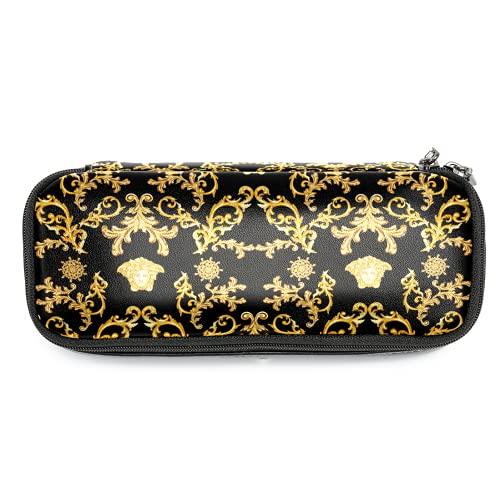Estuche de piel con estampado barroco vintage dorado con doble cremallera bolsa de papelería bolsas de almacenamiento para niños y niñas