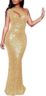 Kleid Sannysis Sannysis Damen Paillettenkleid Abendkleid One-Shoulder Cocktailkleid Partykleider Schulterfrei Ballkleid Lang Maxikleid Abschlusskleid Sexy Glänzend Etuikleid Bodenlang S, Gold