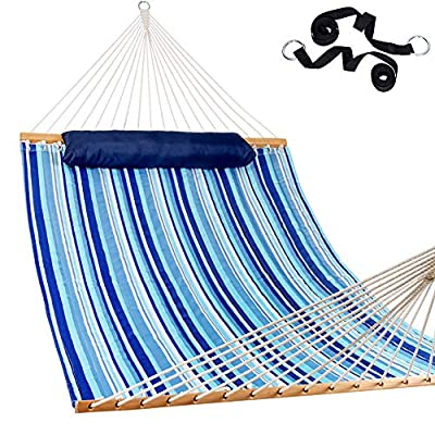 """Lazy Daze Hammocks 55"""" Double Quilted Fabric Hammock Swing with Pillow, Stripes"""