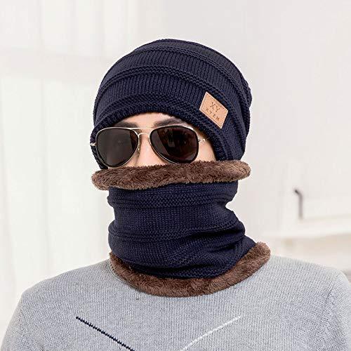 JXFM Heren hoed met capuchon winddicht winter warm dikke gebreide hoed outdoor oorkappen wollen hoed volwassen marine blauw pak