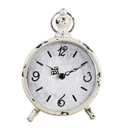 CKLT Creative European Style Antique Retro Iron Craft Home Decor Table/Desk Clock (White)