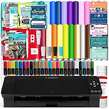 Silhouette Black Cameo 4 Starter Bundle with 26 Oracal Vinyl Sheets Transfer Paper Class Guides and 24 Sketch Pens