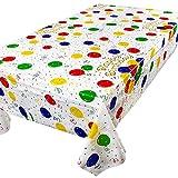 2pcs (137x274cm) Tovaglia Festa Compleanno Rettangolare Plastificata Copritavolo con Palloncini Colorati Tavolo per Decorazione Cucina Feste Happy Birthday Part (Happy Birthday)