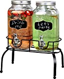 Estilo Embo Glass Mason Jar Double Drink Dispenser with Leak Free Spigot On Metal Stand With Embossed Chalkboard and Chalk, Clear, 1 Gallon