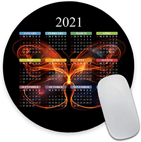 """Round Mouse Pad, 2021 Calendar Mouse Pad, Fire Butterfly Background Gaming Mouse Mat Waterproof Circular Small Mouse Pad Non-Slip Rubber Base MousePads for Office Home Laptop Travel, 7.9""""x0.12"""" Inch"""