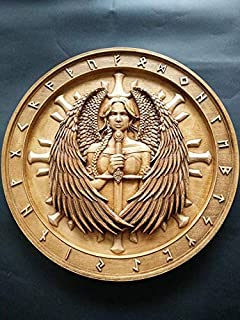 Woodcarving of Valkyrie with sword and wings, Runes, Odin, Norse God, Viking Art, Nordic art, Pagan Art, Pagan Gift   Wall art decoration   Beechwood   Handmade Woodwork   Custom sizes   FREE SHIPPING