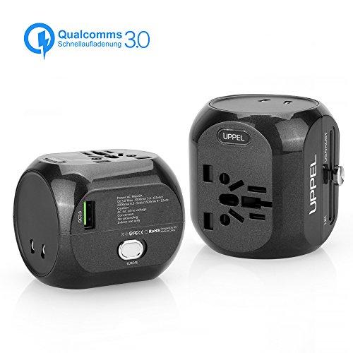 Sankoo Reiseadapter QC3.0 Schnellladung Universal Reiseadapter Steckdosenadapter Internationales Ladegerät Alles In Einem Steckdose-Adapter für USA, AU, Asien, EU, UK und über 150 Ländern (Schwarz)
