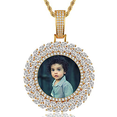 Personalisierte Foto Charm Halskette Modus Hip Hop Anhänger Halskette Einzigartige Geburtstag Muttertag Jubiläum Schmuck Halskette für Frauen Männer Gold Runden1-20(50cm)