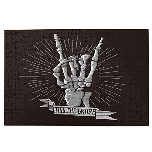 Rompecabezas de 1000 Piezas,Rompecabezas de imágenes,Rock Band Roll Skeleton Hand Music Dead Holidays Rocker Arm,Juguetes puzzle for Adultos niños Interesante Juego Juguete Decoración Para El Hogar