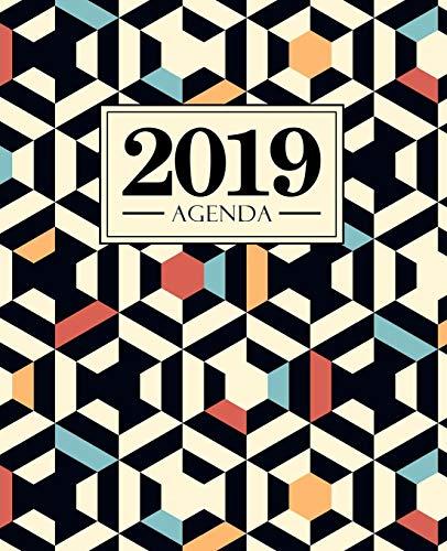 Agenda 2019: 19x23cm : Agenda 2019 semainier : motif géométrique bleu rouge et noir 6118