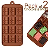 Non-Stick 12 Cavity Silicone Chocolate Molds - 3D Home DIY Mini Rectangle Waffle Candy Maker BPA Free Baking Mould Ice Cube Trays Mini Fondant Sugarcraft Durable Tool (#A)