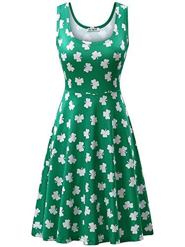 HUHOT Green Print Dress for Saint Patric Day Clover Mudium