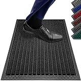 PazCaz Fußmatte Schwarz [EXTRA dünn und rutschfest] Optimale Größe für die Haustür Fussmatte außen und innen | Fußmatte außen mit Anti-Rutsch Unterseite | Fußmatten Schwarz 40x60 cm