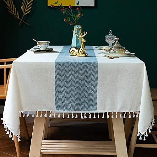 Mantel Rectangular de Lino, Mantel de algodón Pesado, Lino, a Prueba de Polvo, Cubierta de Mesa para Fiesta, Cubierta de Mesa, Cocina, Comedor, A140x240cm
