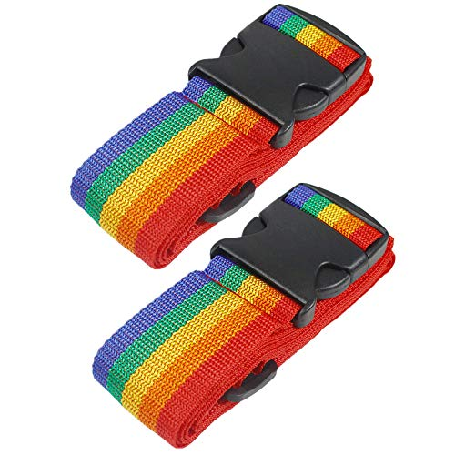 2 Pack Suitcase Luggage Straps, RFWIN Adjustable Rainbow Luggage Packing Belt with Security Buckle Closure