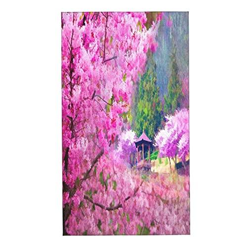 COFEIYISI Toallas de Manos Paisaje con Flor de Sakura Bosque de pabellón japonés de montaña lejana Toalla Facial Toalla de baño pequeña Microfibra Absorebentes Esencial para Viajar a casa 40x70cm