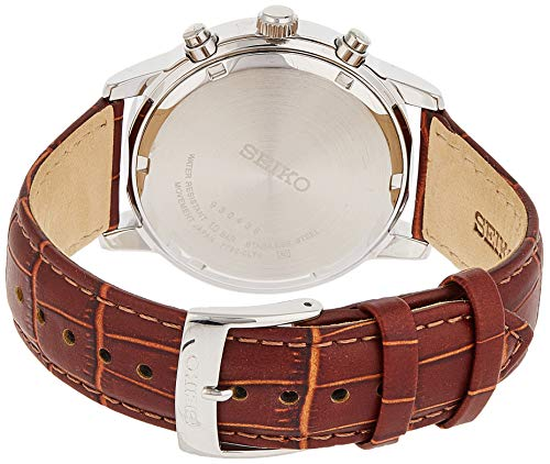 Fashion Shopping Seiko Men's SNDC31 Classic Stainless Steel Chronograph Watch with Brown Leather