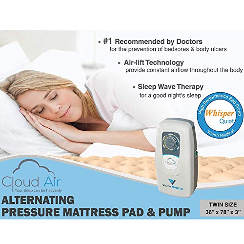 Vaunn Medical Cloud Air Whisper Quiet Alternating Air Pressure Mattress Topper with Pump (2019 Upgraded Model) Twin Size 36' X 78' X 3'