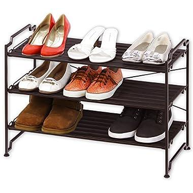 3-Tier Stackable Shoe Shelves Storage Utility Rack, Resin Slat Bronze