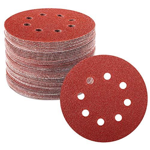 96pcs Orbital Sandpaper 5 Inches 8 Holes Hook and Loop 40 60 80 120 180 240 320 400 800 Grits Adhesive Sanding Discs Sandpaper for Random Orbital Sander STUHAD