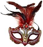 VENTURA TRADING MX1 Rojo Máscara de la Mascarada Mascarilla Veneciana Decoración de Plumas Mujer Mascarada Disfraz Partido Pelota Paseo