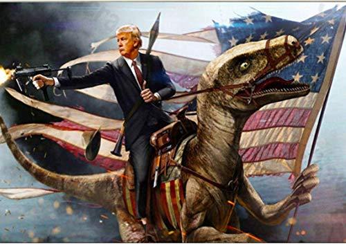 Leinwand Bilder 40x60cm Kein Rahmen Donald Trump Shooting Gun Amerikanische Flagge Disaur für Wohnzimmer Home Decor Geschenk