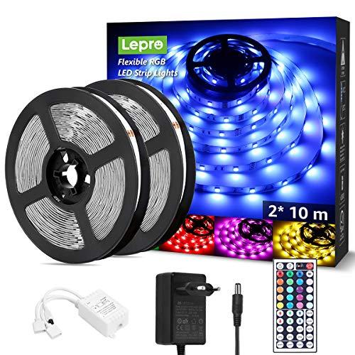 LE LED Strip 20M Set (2x10M), RGB LED Streifen Band, 5050 SMD LED Stripes, 12V, Selbstklebend Lichtband mit 44 Tasten Fernbedienung, Flexibel LED Leiste, LED Lichterkette IP20 für Haus,Party,Bar,TV