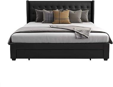 PU Upholstered Leather Wooden Bed Frame King Storage Drawer Dark Grey
