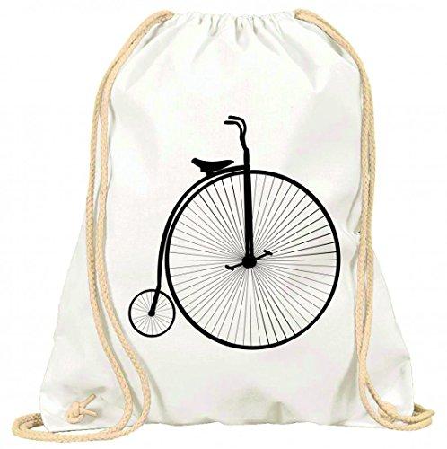 Druckerlebnis24 Turnbeutel Fahrrad- TOLLES Zeug- GROßE- VERALTET- ALTE- HOCHRAD- Retro- FAHRT- Silhouette- KLEIN- VELOZIPED- Jahrgang- RÄDER mit Kordel - 100% Baumwolle- Gymbag- Rucksack- Sportbeutel