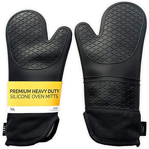 Guantes largos de silicona para horno YHK, 1 par, juego de guantes profesionales resistentes al calor con forro acolchado para cocinar, hornear o asar a la parrilla, no volver a quemarse los brazos