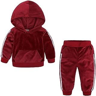 WUAI Kids Clothes 2Pcs Fashion Toddler Baby Girl Velvet Sweatshirt Tops Pant Set Tracksuit
