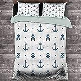 Toopeek Anchor Decor Hotel lujo ropa de cama anclas y calaveras cruzadas huesos puntos pirata terror miedo marino ilustración poliéster - suave y transpirable (completo)