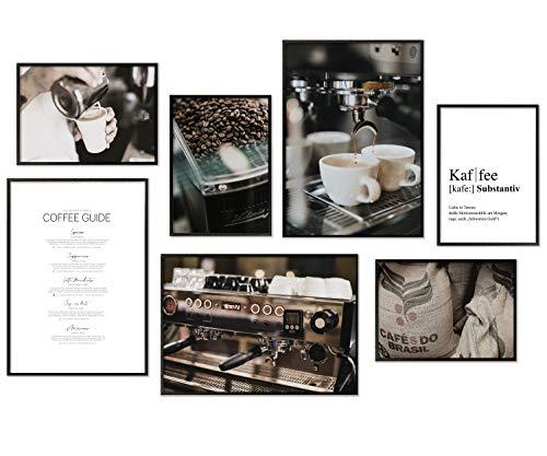Hyggelig Home Premium Poster Set - 7 passende Bilder im stilvollen Set als Küchen Wand Deko - Collage Vintage Bild Kaffee Coffee Espresso Café - 3 x DIN A3 + 4 x DIN A4 - Set Kaffee ohne Rahmen