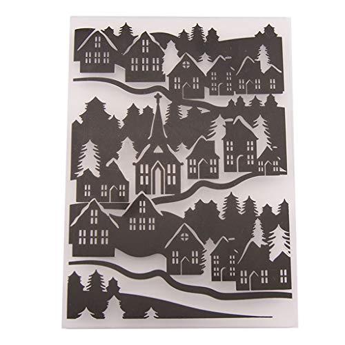 HLLR Tarjeta de álbum de Fotos de álbum de Recortes de Bricolaje Plantilla de Carpeta de grabación en Relieve de plástico de casa Rural de Bricolaje
