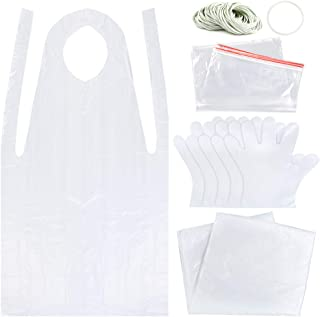 Sntieecr Tie Dye DIY Kit, Including Rubber Bands, Plastic Gloves, Sealed Bags, Disposable Aprons and Protective Plastic Sheet, Easy to Dye Shirts and Fabrics for Tie-Dye Project