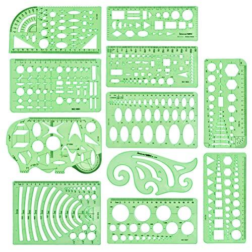 HONMIED 11 Stücke Kunststoff Mess Lineal, Architektur Zeichnungen Vorlagen, Gebäude Schalung, Schablonen Geometrische Zeichnung, Zeichnungen Schablonen Werkzeug für Büro- und Schulhausschalung